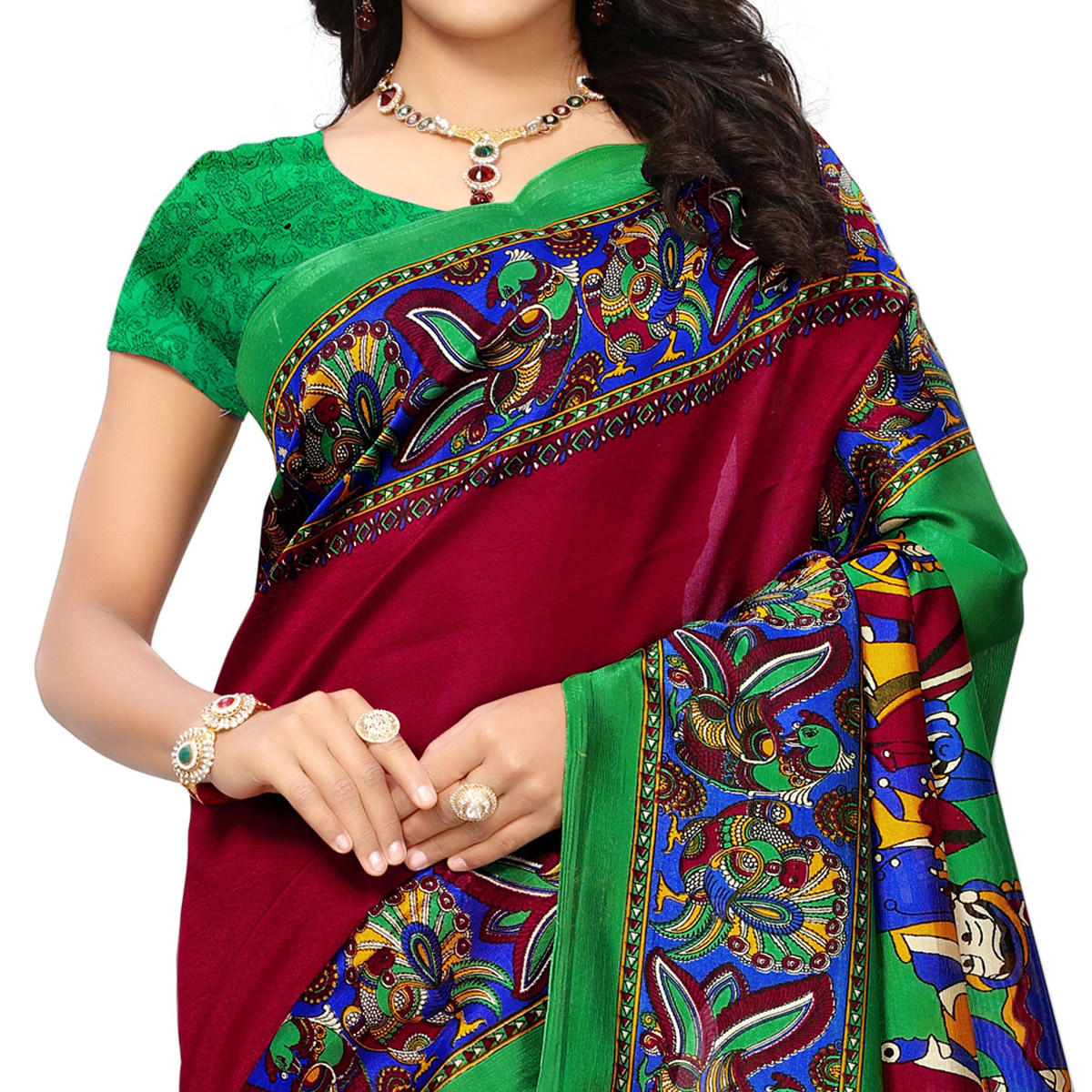 Majestic Maroon Colored Printed Festive Wear Mysore Art Silk Saree