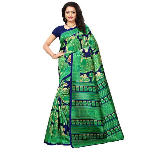 Glowing Green Colored Printed Festive Wear Mysore Art Silk Saree