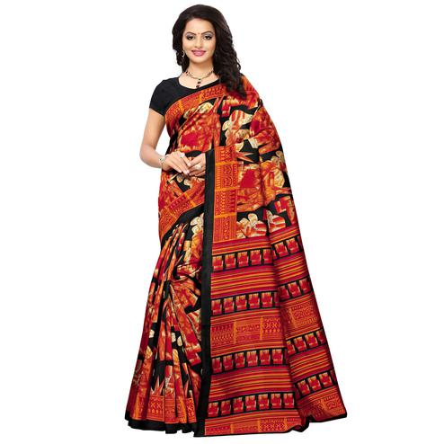 Different Multi Colored Printed Festive Wear Mysore Art Silk Saree