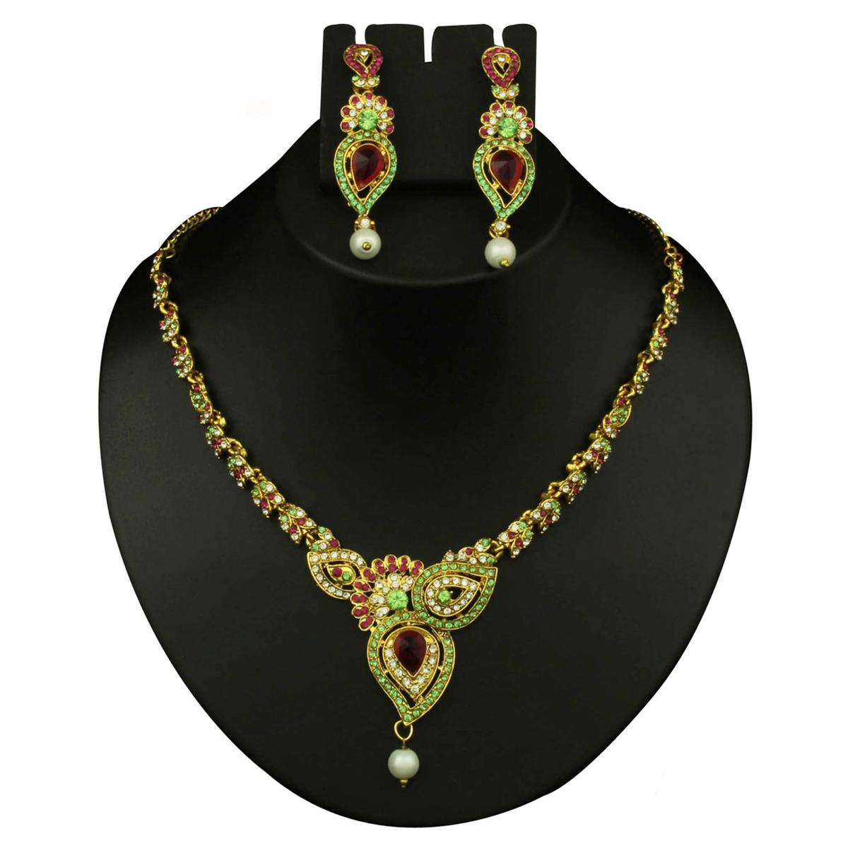 Green & Pink Austrian Stone Pearl Drop Gold Finish Necklace Set
