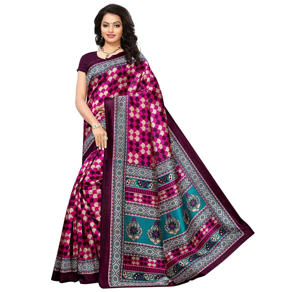 Charming Pink-Purple Colored Printed Festive Wear Mysore Art Silk Saree