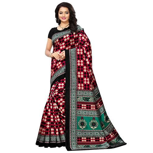 Attractive Red-Black Colored Printed Festive Wear Mysore Art Silk Saree