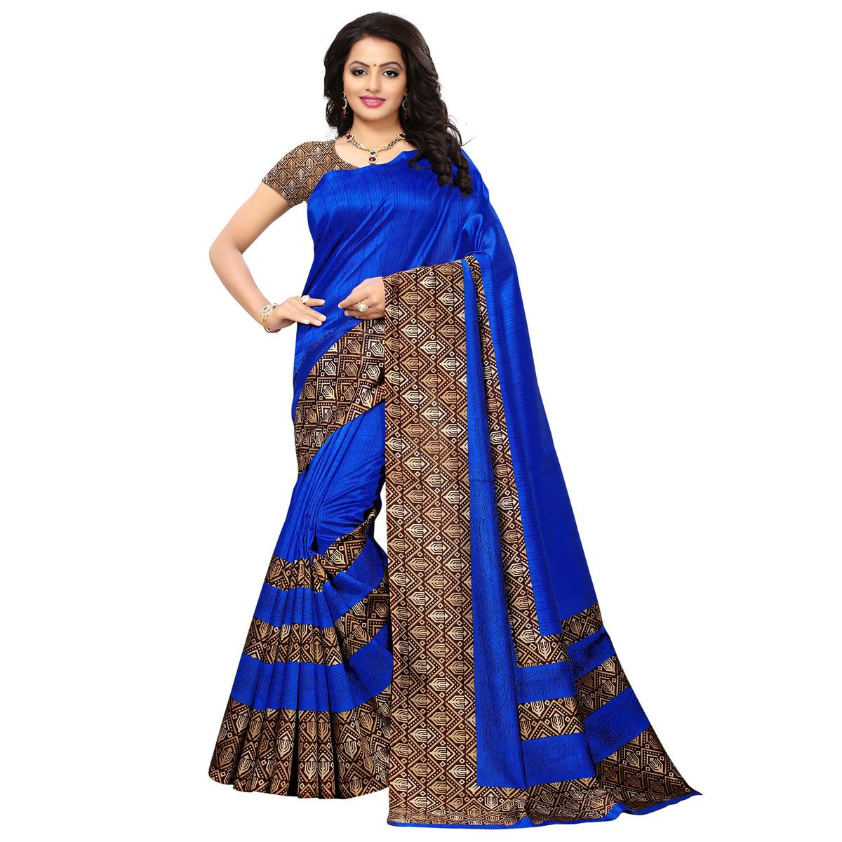 Mesmerising Blue Colored Printed Festive Wear Mysore Art Silk Saree