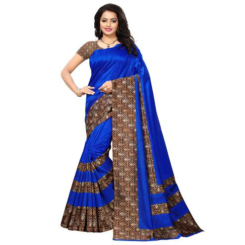 Blue Colored Printed Festive Wear Mysore Art Silk Saree