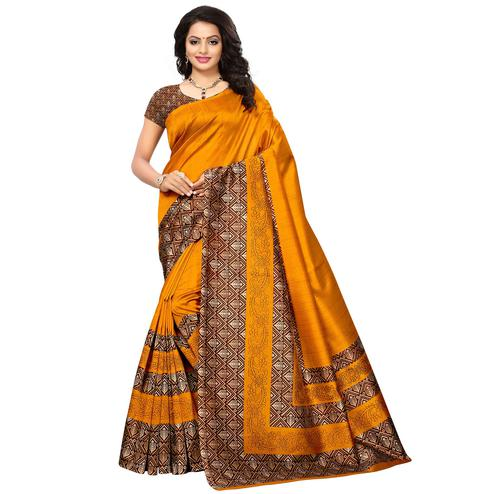 Magnetic Yellow Colored Printed Festive Wear Mysore Art Silk Saree