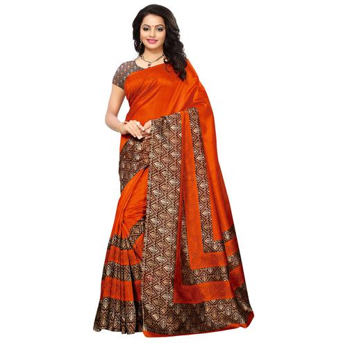 Trendy Orange Colored Printed Festive Wear Mysore Art Silk Saree