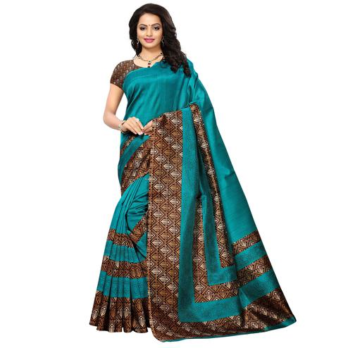 Irresistible Teal Blue Colored Printed Festive Wear Mysore Art Silk Saree