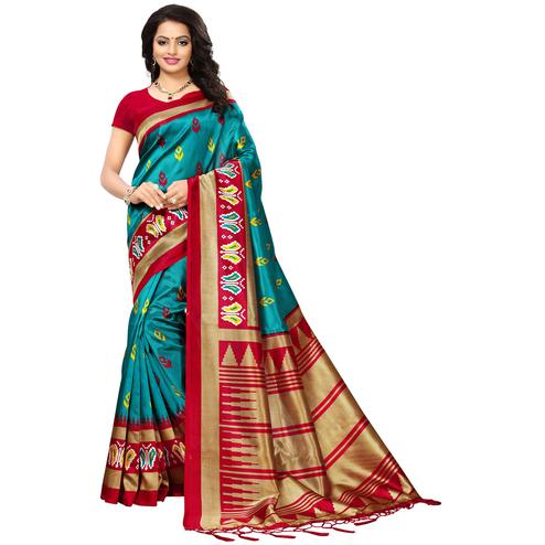 Refreshing Teal Blue Colored Printed Festive Wear Mysore Art Silk Saree