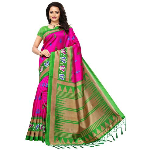 Pretty Pink Colored Printed Festive Wear Mysore Art Silk Saree