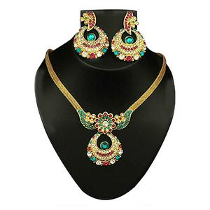 Multicolor Austrian Stone Gold Finish Pendant Set