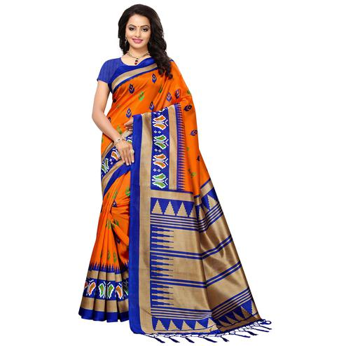 Gleaming Orange Colored Printed Festive Wear Mysore Art Silk Saree