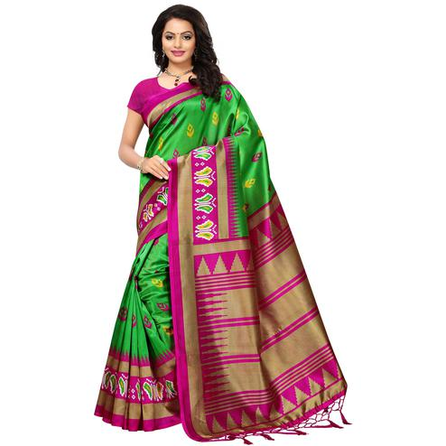 Amazing Green Colored Printed Festive Wear Mysore Art Silk Saree