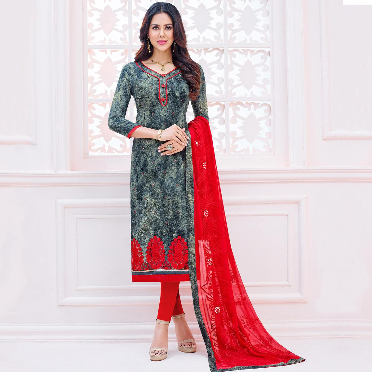Opulent Grey Colored Embroidered Cotton Dress Material