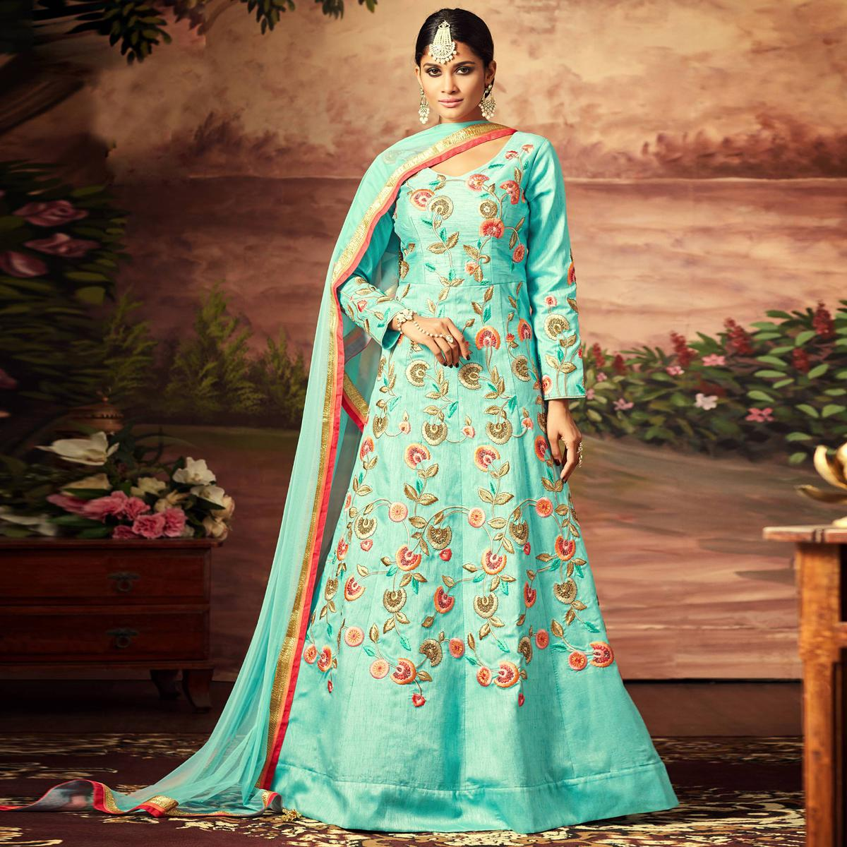 Pretty Light Blue Colored Designer Embroidered Art Silk Anarkali Suit