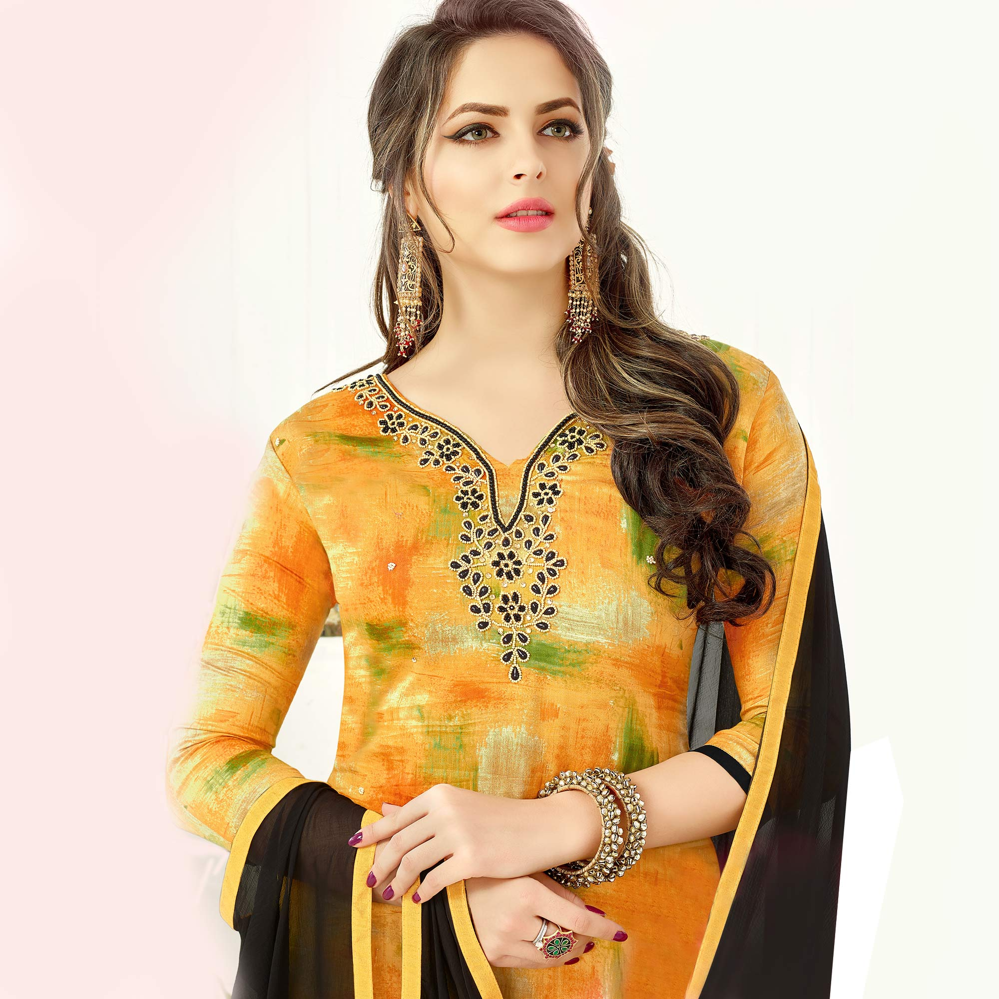 Glowing Yellow Colored Casual Wear Cotton Dress Material