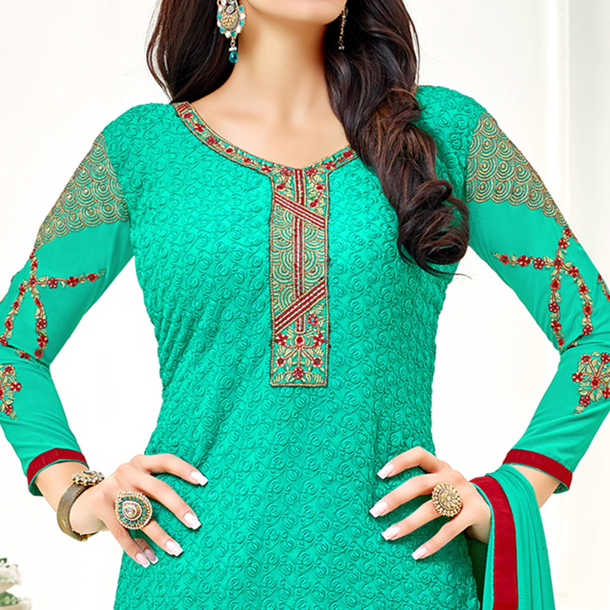 Amazing Teal Blue Colored Party Wear Embroidered Georgette Dress Material