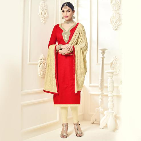 Ravishing Red Colored Party Wear Cotton Silk Dress Material