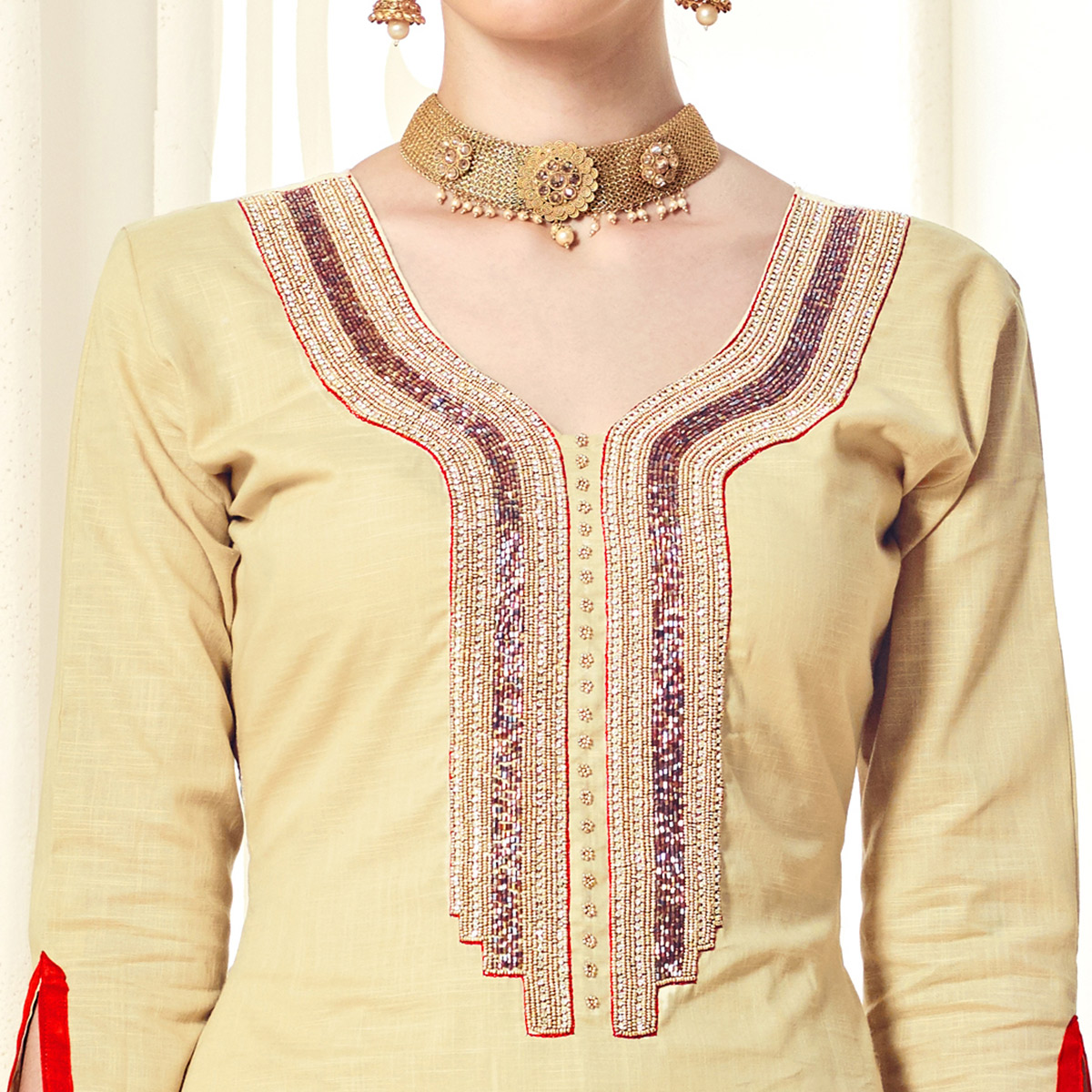 Classy Cream Colored Party Wear Cotton Silk Dress Material