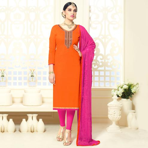 Lovely Orange Colored Party Wear Cotton Silk Dress Material