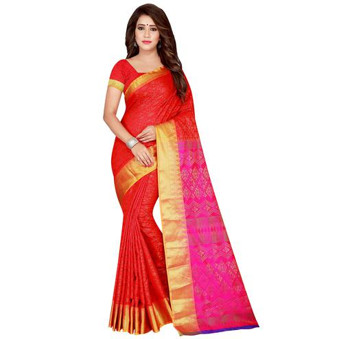 Glowing Red Colored Festive Wear Woven Banarasi Silk Saree