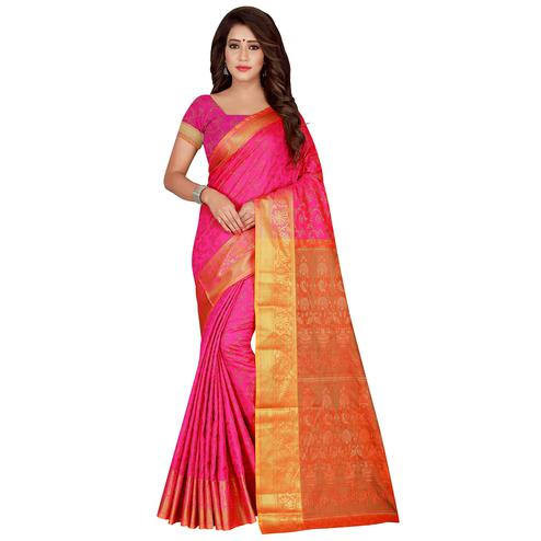 Pretty Fuschia Pink Colored Festive Wear Woven Banarasi Silk Saree