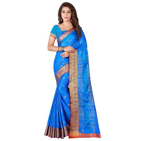 Demanding Blue Colored Festive Wear Woven Banarasi Silk Saree