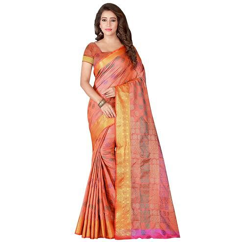 Stunning Peach Colored Festive Wear Woven Banarasi Silk Saree