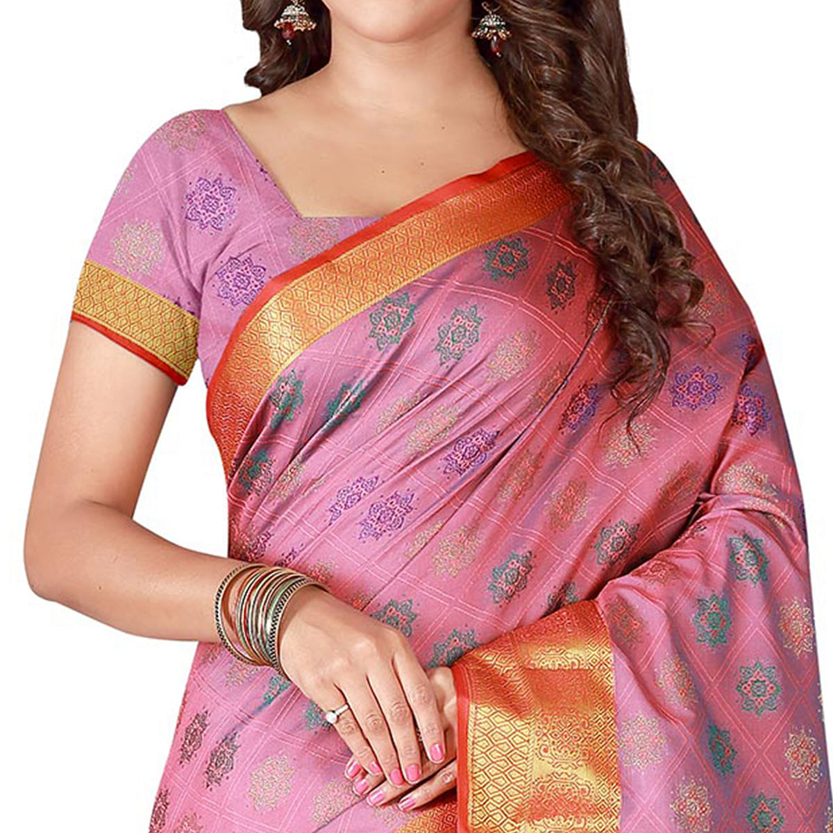 Different Dusty Pink Colored Festive Wear Woven Banarasi Silk Saree