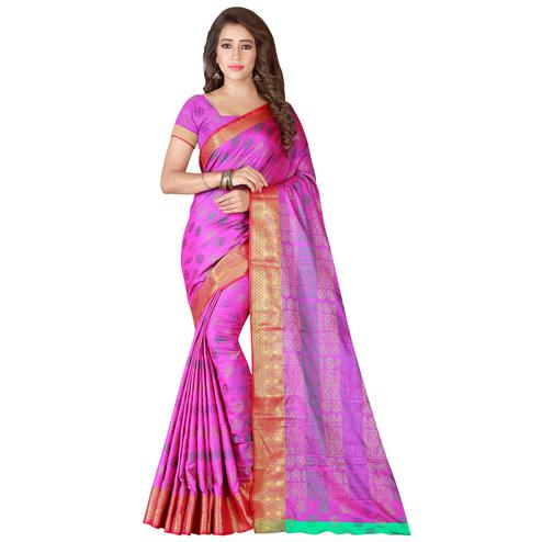 Blooming Light Purple Colored Festive Wear Woven Banarasi Silk Saree