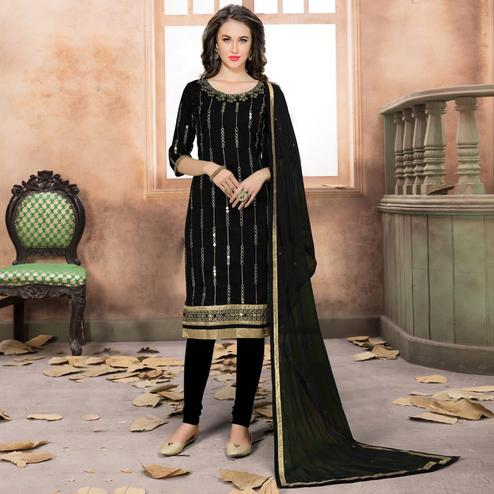 Flaunt Black Colored Partywear Embroidered Art Silk Suit