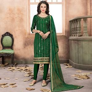 Refreshing Green Colored Partywear Embroidered Art Silk Suit