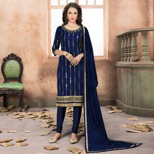 Attractive Navy Blue Colored Partywear Embroidered Art Silk Suit