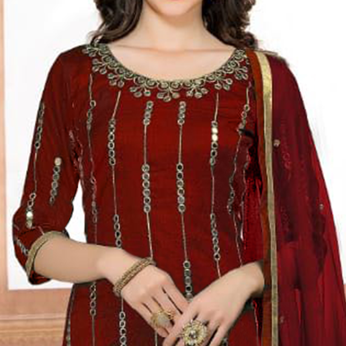 Stylish Maroon Colored Partywear Embroidered Art Silk Suit