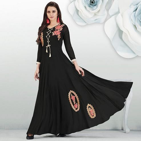 Blissful Black Colored Partywear Embroidered Georgette Gown