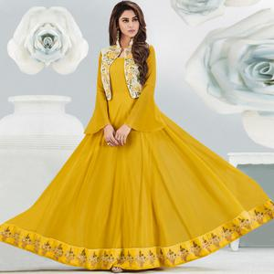Surpassing Mustard Colored Partywear Embroidered Georgette Gown