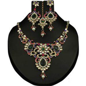 Kundan Multicolor Austrian Stone Pearl Drop Gold Finish Necklace Set With Maang Tikka