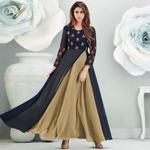 Starring Navy Blue-Beige Colored Partywear Embroidered Georgette Gown