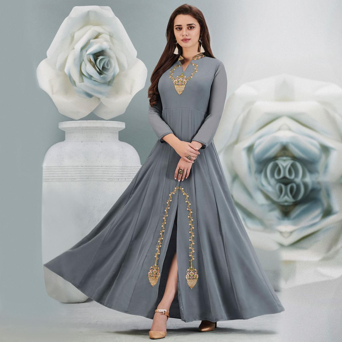 Innovative Grey Colored Partywear Embroidered Georgette Gown