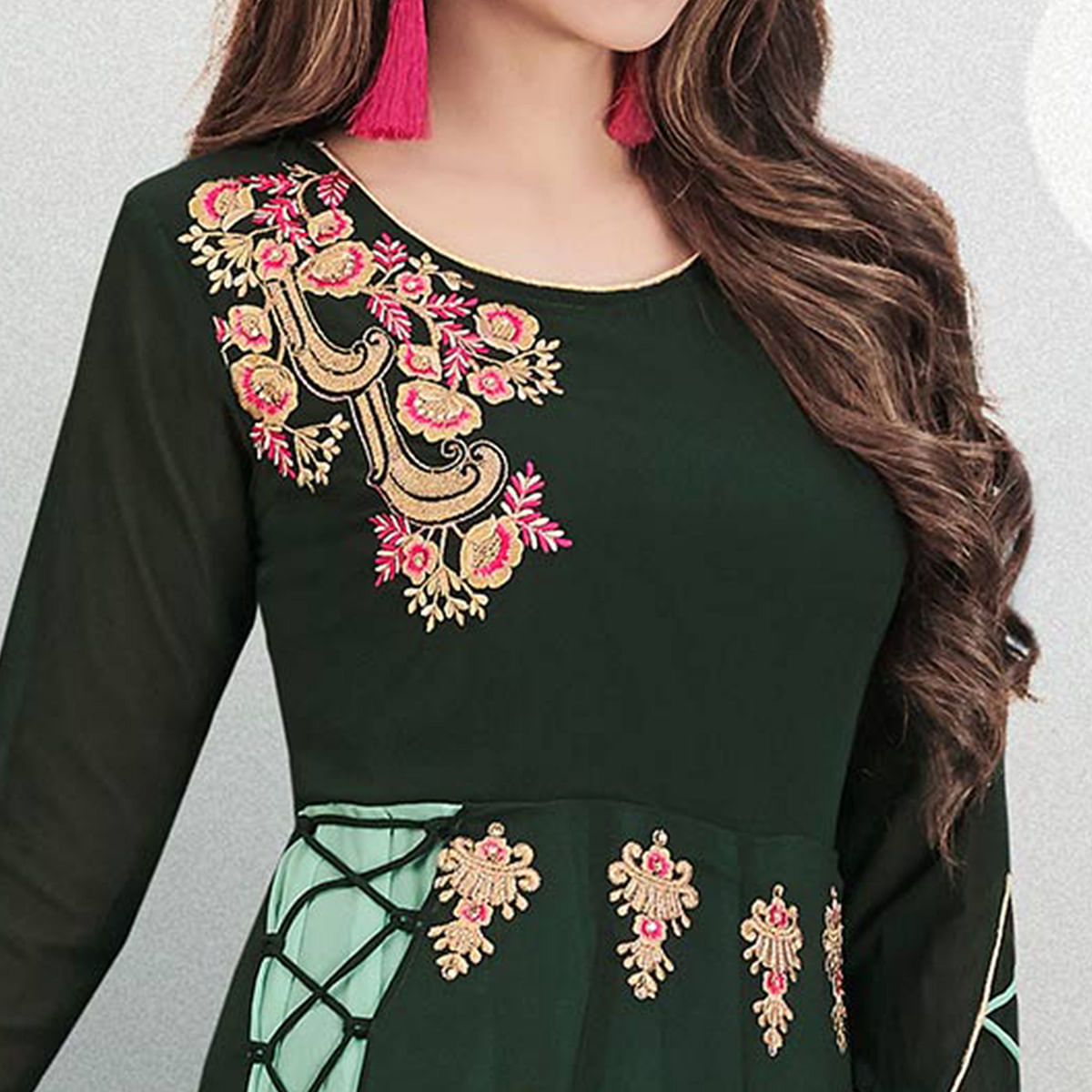 Dazzling Bottle Green Colored Partywear Embroidered Georgette Gown