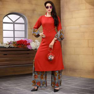 Amazing Red Colored Partywear Printed Rayon Palazzo Suit