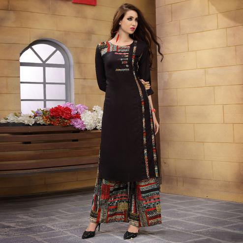 Flaunt Black Colored Partywear Printed Rayon Palazzo Suit