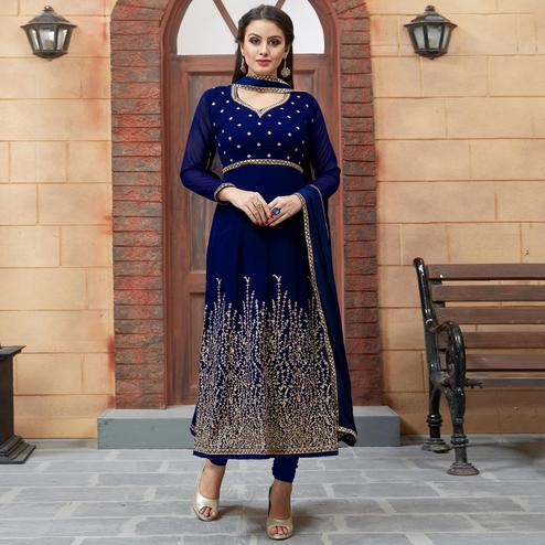 Blooming Royal Blue Colored Partywear Embroidered Georgette Anarkali Suit