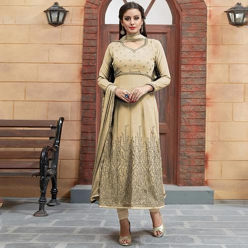 Appealing Beige Colored Partywear Embroidered Georgette Anarkali Suit