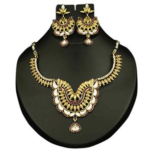 Kundan Purple Austrian Stone Gold Finish Necklace Set