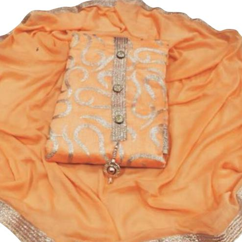 Traditional Orange Colored Partywear Embroidered Chanderi Silk Dress Material
