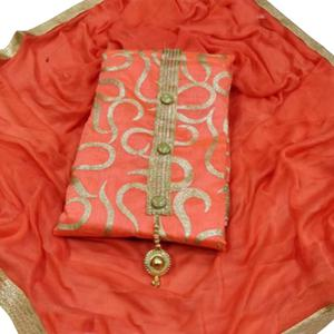 Gleaming Light Red Colored Partywear Embroidered Chanderi Silk Dress Material