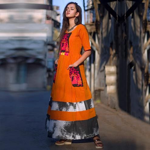 Amazing Orange Colored Partywear Embroidered Linen Long Kurti