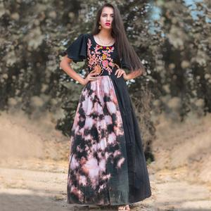 Stylish Black Colored Partywear Embroidered Linen Long Kurti