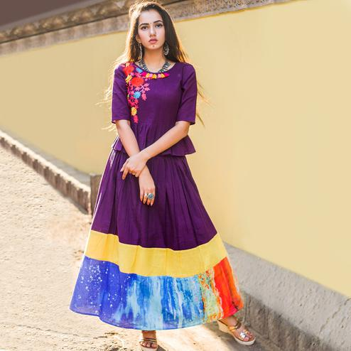 Classy Purple Colored Partywear Embroidered Linen Long Kurti