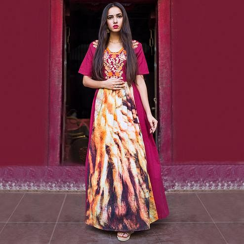 Lovely Magenta Pink Colored Partywear Embroidered Linen Long Kurti